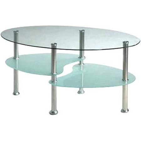 Hodedah Oval Glass 3 Tier Coffee Table, Multiple Colors