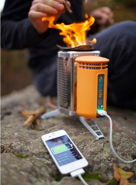 BioLite Camp Stove. uses no fuels just wood and charges your things! Awesome