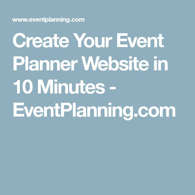 Create Your Event Planner Website In 10 Minutes
