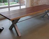 Reclaimed black walnut dining table by moss Design