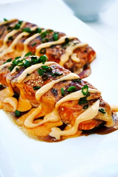 Stuffed Salmon w/ Sriracha Cream Sauce- alternatively you can just use teriyaki marinade.
