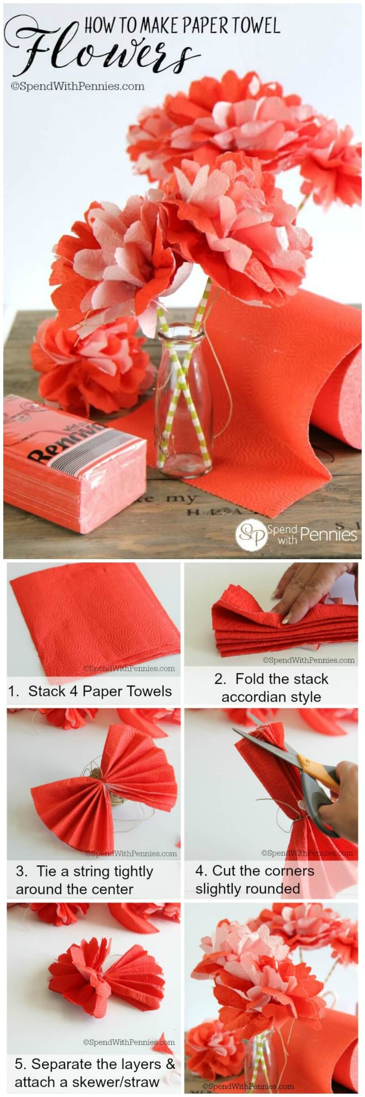 How to make beautiful flowers out of PAPER TOWELS!!  These are inexpensive, quick and easy to make and beautiful as a simple centrepiece!