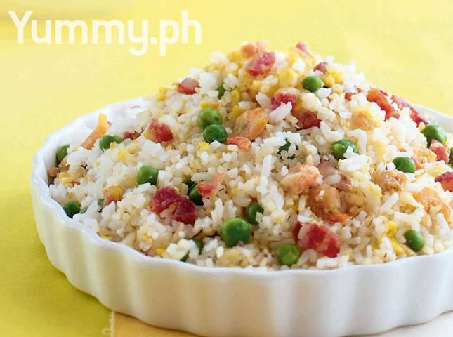 Yang Chow Fried Rice with Chinese Sausage, Char Sui, and Shrimp