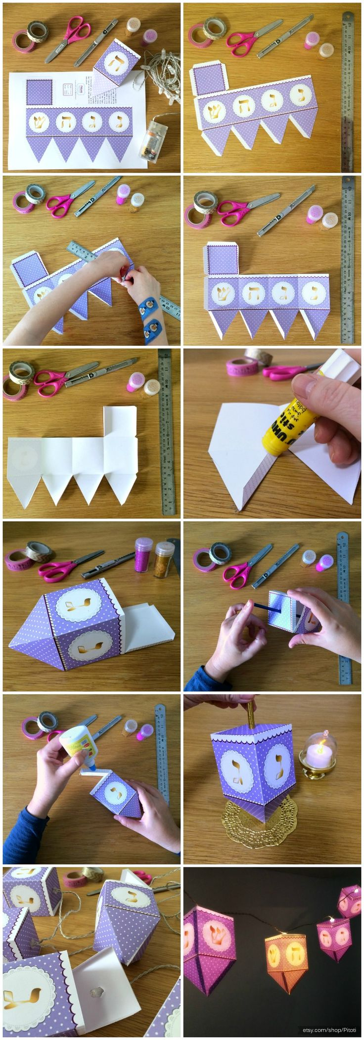 Hanukkah Dreidel Paper Craft, printable Dreidel template to creat 3D Paper Dreidels favors or Hanukkah Decorations - Instant download.