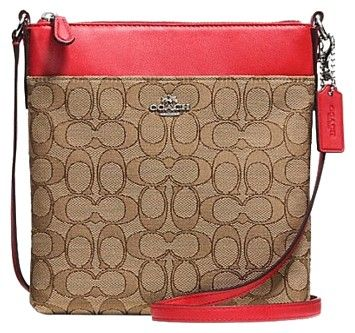 Coach F52576 North/south Swingpack In Signature Khaki/True Red Cross Body Bag on Sale, 27% Off   Cross Body Bags on Sale at Tradesy