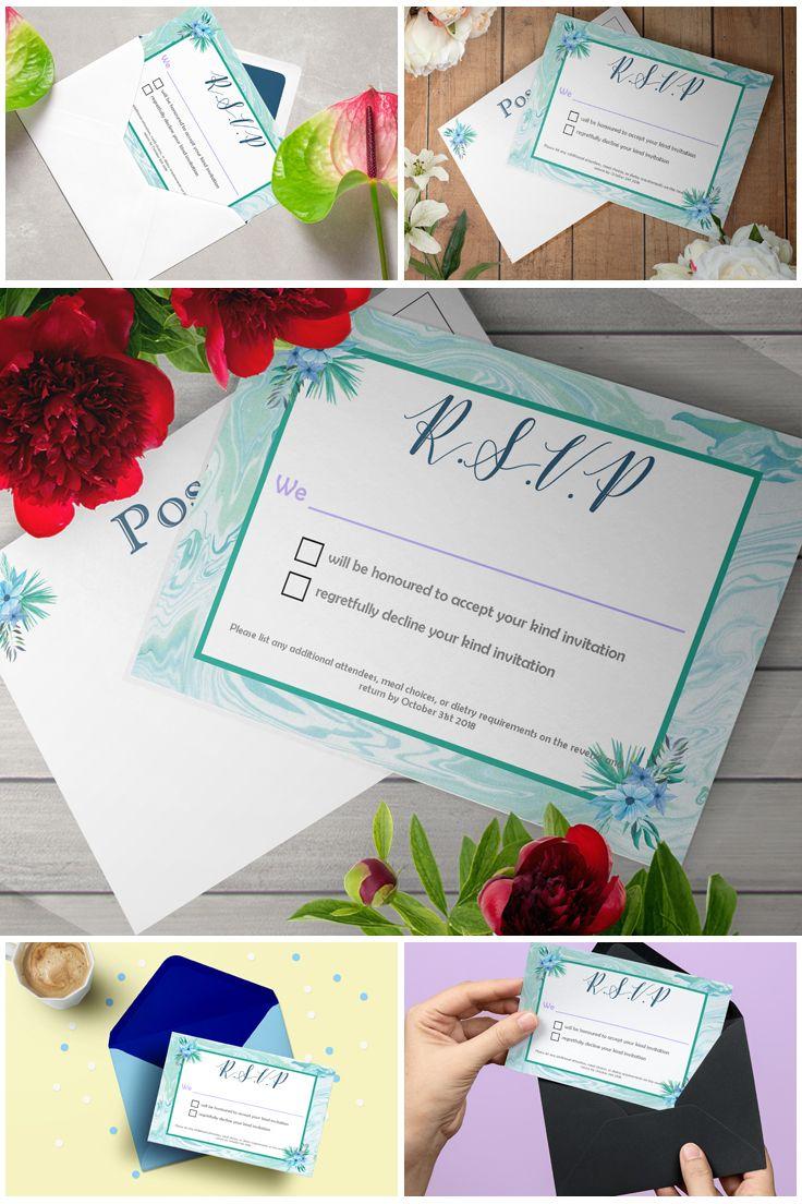 #Printable Mint Marble #Wedding Invitation Suite #Template   #prandski #weddingsuk #diyweddings #weddingsuite