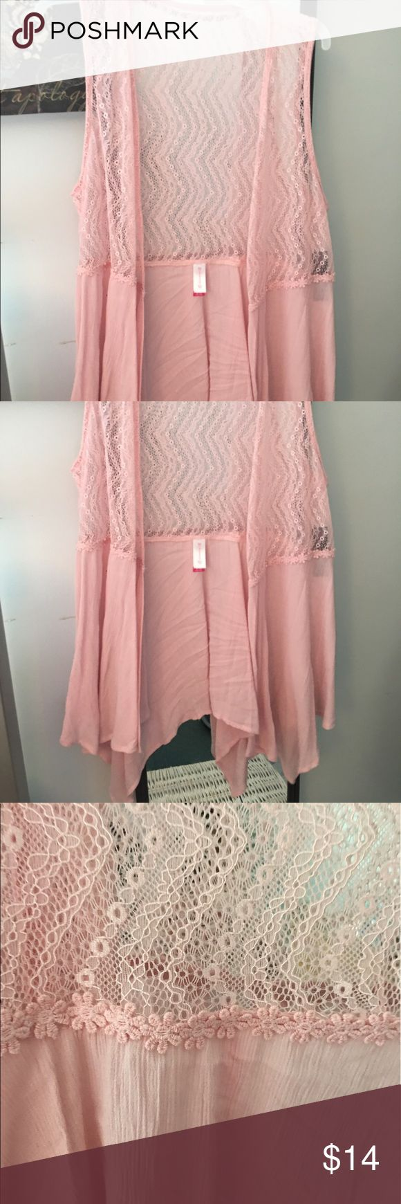 Beautiful sheer pink vest/over shirt Super cute when worn over a tank top. Brand new without tags. Lovely floral design and pretty pink color. Very summery and hip. No Boundaries Tops Blouses