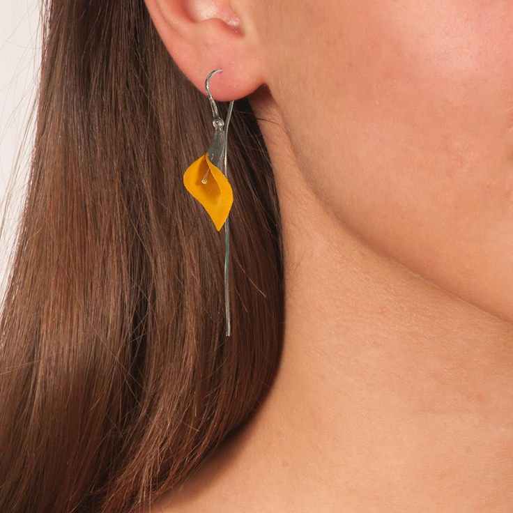 Handmade Black Plated Silver Orange Yellow Lily Drop Earrings - Anthos Crafts