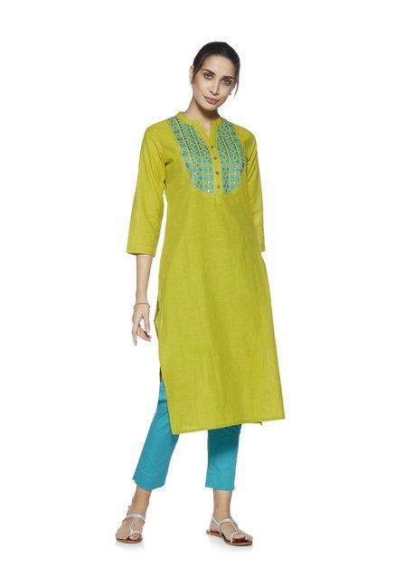 6538da7b0f Buy Utsa by Westside Lime Flared A-line Pure Cotton Kurta for Women Online @