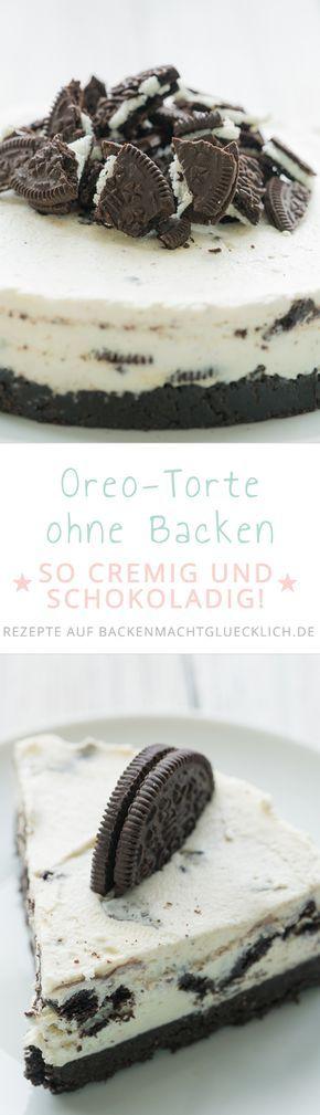 Wer Oreos mag, wird diese Torte lieben! Knusprige schokoladige Oreo-Kekse, sahnige Frischkäsecreme - der Oreokuchen ohne Backen schmeckt einfach köstlich!