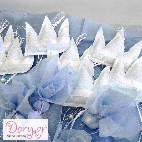Χειροποίητη μπομπονιέρα βάπτισης. Αρωματική υφασμάτινη κορώνα. Handmade favor for a christening or baby shower. Aromatic plush crown.