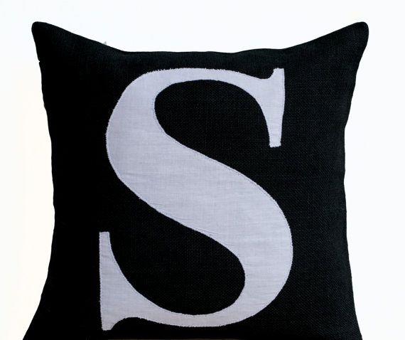 Personalized Monogram throw pillow- Burlap pillows- Black White monogram cushion -applique -initial pillow -Decorative throw pillows- 16x16
