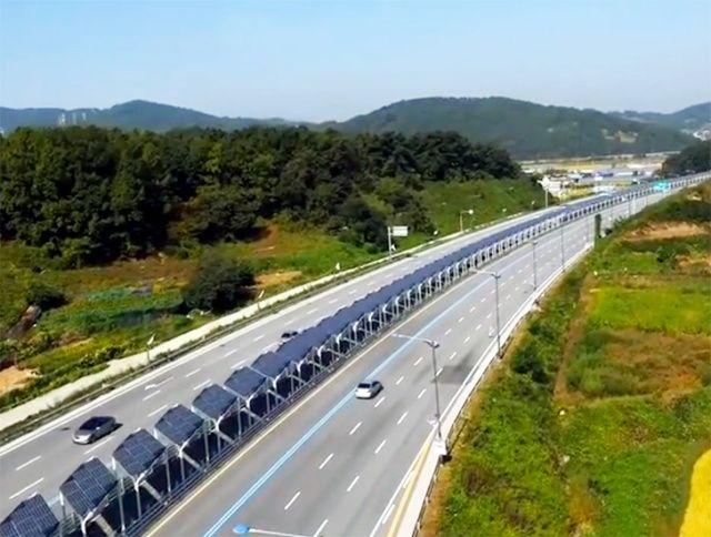 Estrada na Coreia do Sul tem ciclovia coberta por 20 mil painéis solares