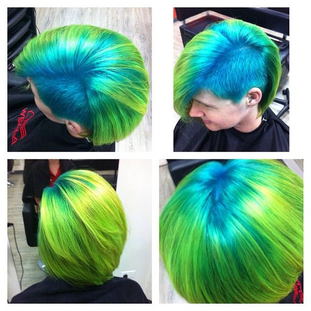 laushairstylist's photo on Instagram | Manic Panic Electric Lizard Electric Banana Atomic Turquoise green blue multicolored