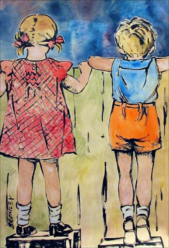 DAVID BROMLEY Children Series The Fence Polymer Painting 120cm x 78cm FRAMED