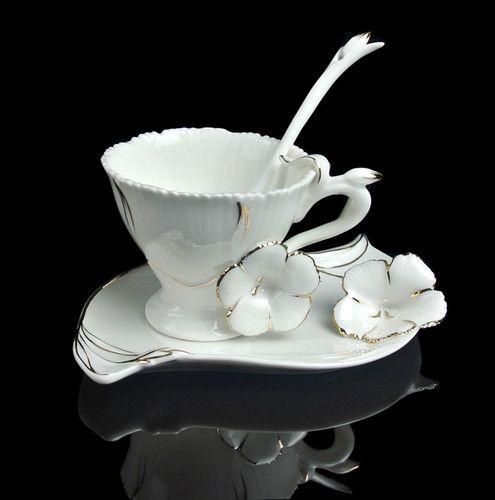 Tea Time Unique Graceful Frangipani Flower Coffee Set Tea Cup Saucer Spoon | eBay