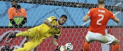 Netherlands defender Ron Vlaar saw his penalty saved by Argentine goalkeeper Sergio Romero