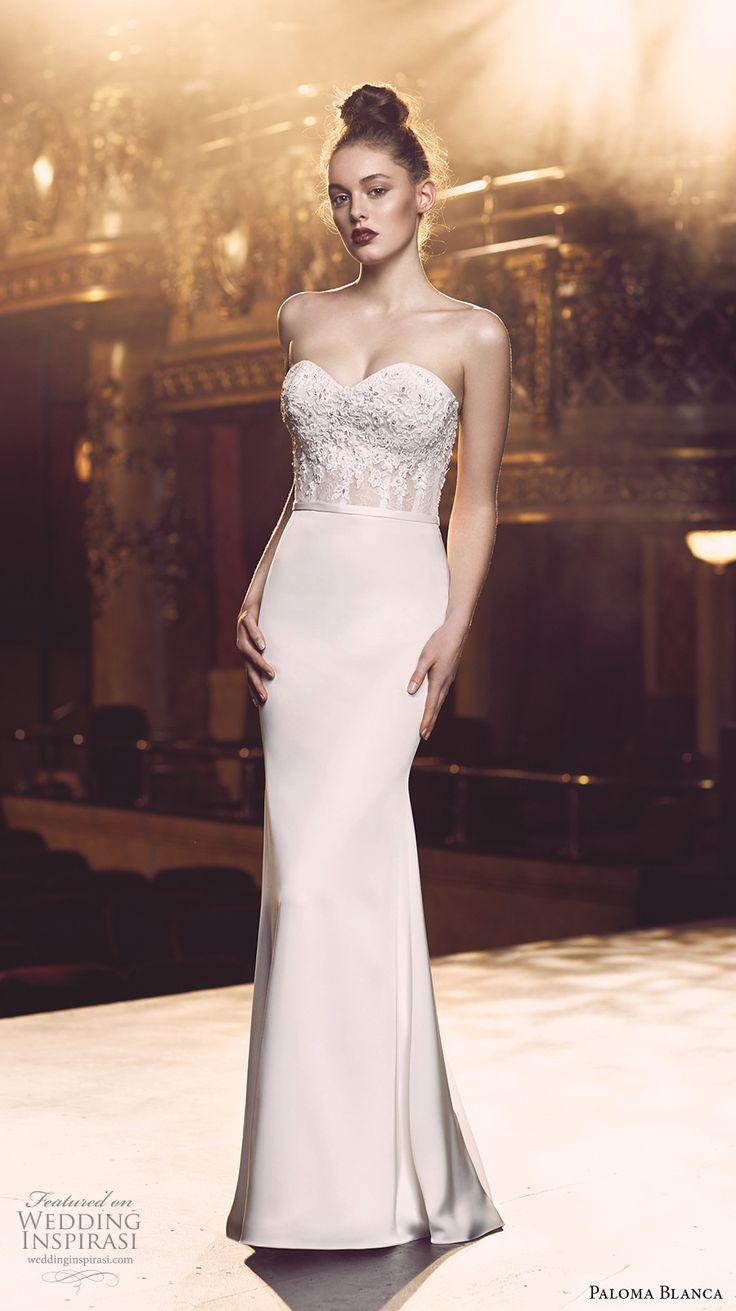 paloma blanca fall 2016 bridal strapless sweetheart neckline heavily embellished bodice sexy elegant sheath wedding dress 4713) mv