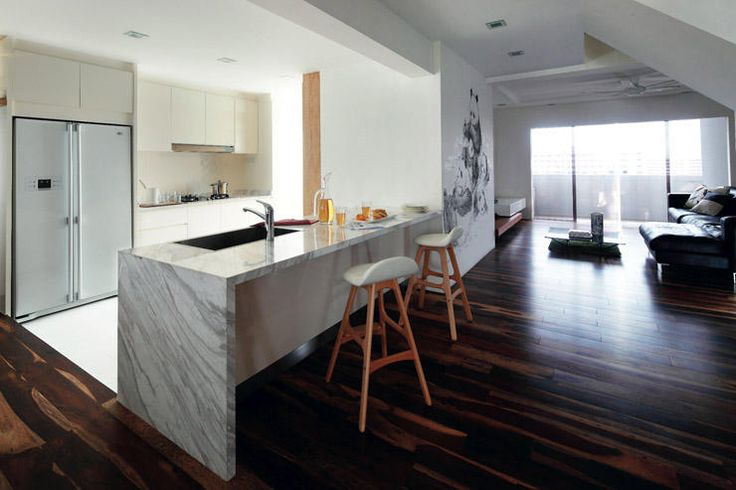 Ways and ideas for a peninsula counter, rather than an island counter, in a small kitchen.