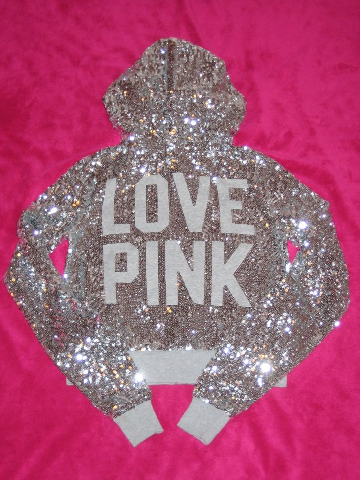 Sparkly Bling Nails: Victoria's Secret PINK Shiny Zip Up Hoodie.