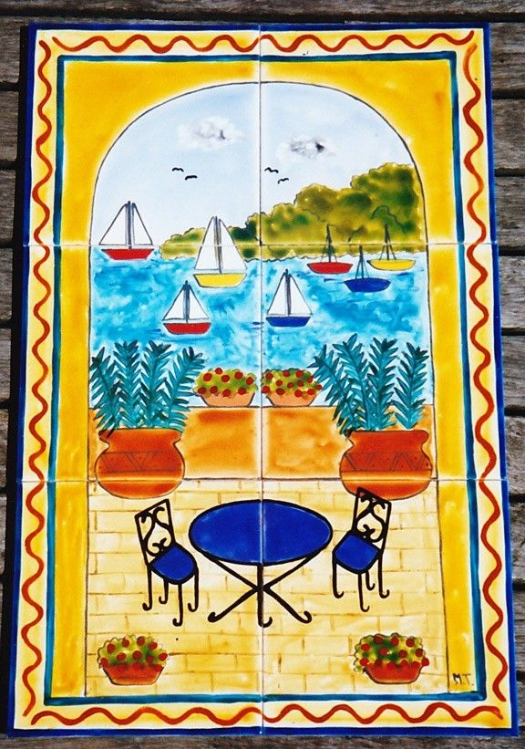 Balcony Scene - original hand painted ceramic feature tile - ready to hang, ideal for outdoor decorating. #tileart #gardenart #outdoordecorating #homedecor http://www.margantiledesign.com.au