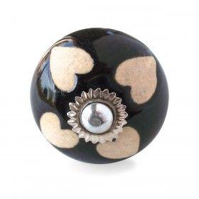 Bouton de Meuble Cœur Noir et Crème