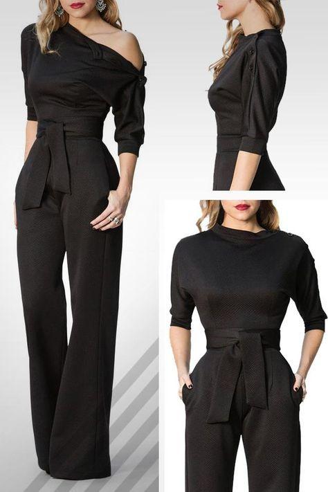 943213db340 Black Slanted One Shoulder Wide Leg Formal Jumpsuit  jumpsuit  legging   wideleg  widepants  fashion  style