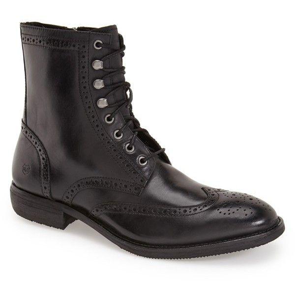Men's Andrew Marc 'Hillcrest' Wingtip Boot (438.620 COP) ❤ liked on Polyvore featuring men's fashion, men's shoes, men's boots, black, mens black leather boots, mens side zipper boots, mens wingtip shoes, mens side zip boots and mens black brogues