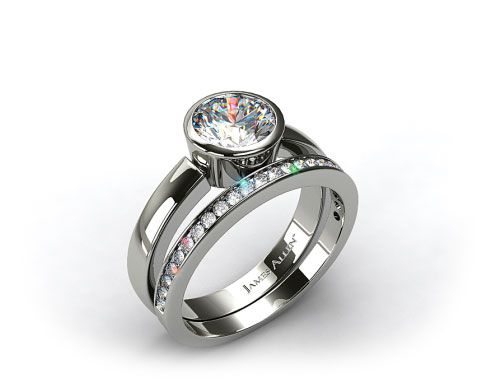 18k White Gold Bezel Set Round Diamond Solitaire Ring & .28ct Channel Set Wedding Band