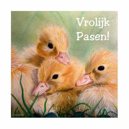 Vrolijke eendenkuikens - happy ducks chick. Change text and send as card from Kaartje2go - Creagaat Pasen Pinkster