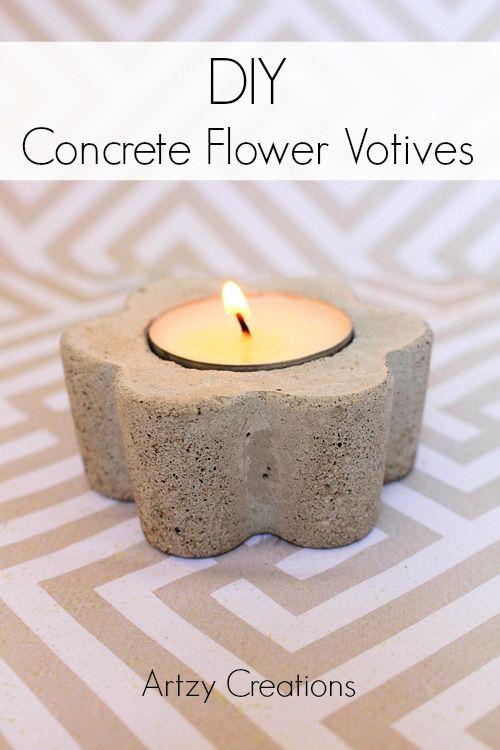 DIY CONCRETE FLOWER VOTIVES