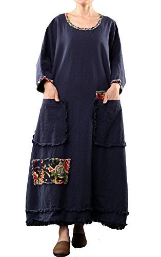 Mordenmiss Women's Long Sleeve Cotton Linen Dress Oversize Clothing 2015 Dark Blue