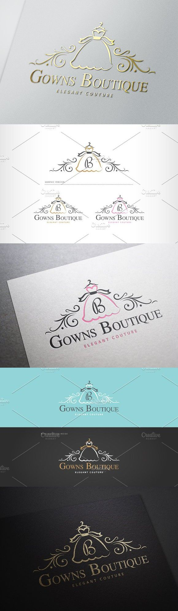 Gowns Boutique Logo. Script Fonts