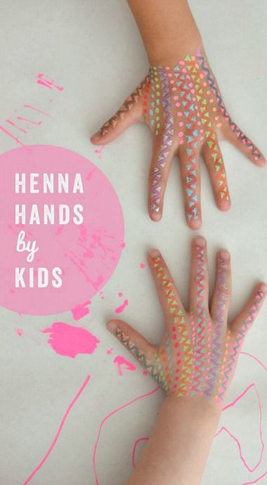 kids can create henna hands for their friends with washable neon markers