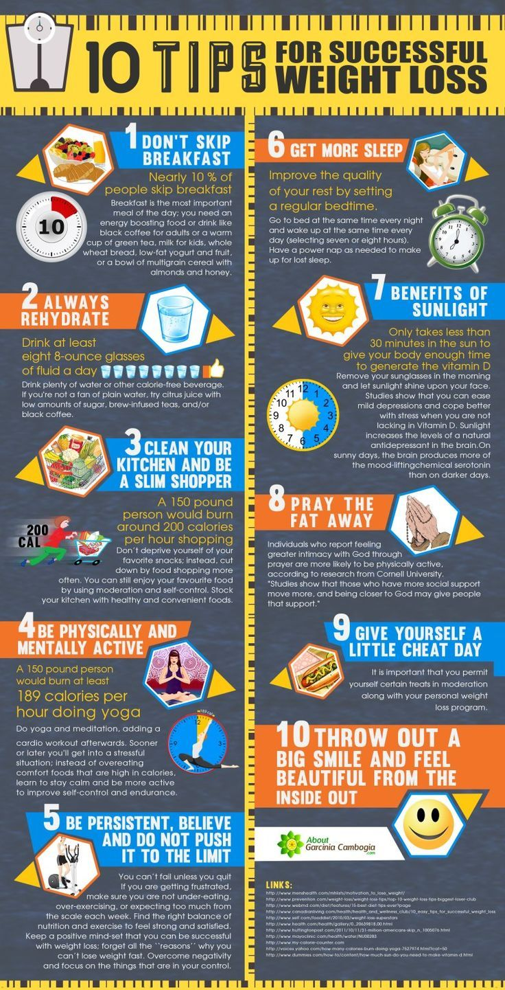 10 tips for successful weight loss infographic &  The 8 best weight loss tips (Link)
