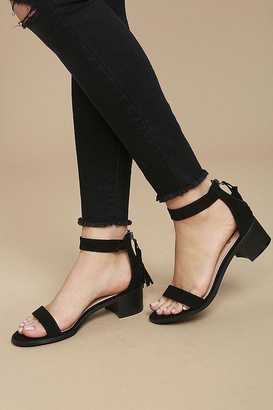 Emma Black Suede Ankle Strap Heels
