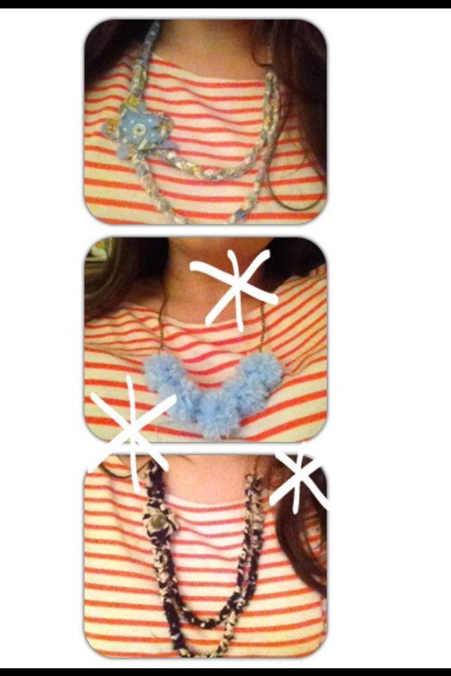 Plaited material and Pom Pom necklaces