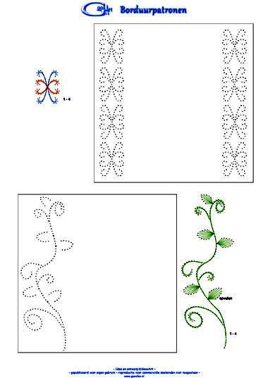 card embroidery - viny leaf border