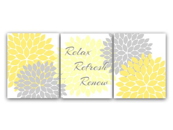 Bathroom Wall Art, Relax Refresh Renew, Yellow and Gray Bathroom Decor, Modern Bathroom Art, Set of 3 Bath Art Prints - BATH18