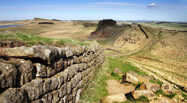 Hadrian's Wall was built by the Romans to protect their colony Britannia from the tribes in Scotland