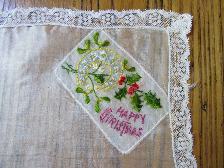 WW1 Military Hankie, Happy Christmas, Embroidered Holly Leaves and Forget-Me-Nots in Gold Horseshoe,  WWI Memorabilia, Military Memorabilia by BeautifulPurpose on Etsy