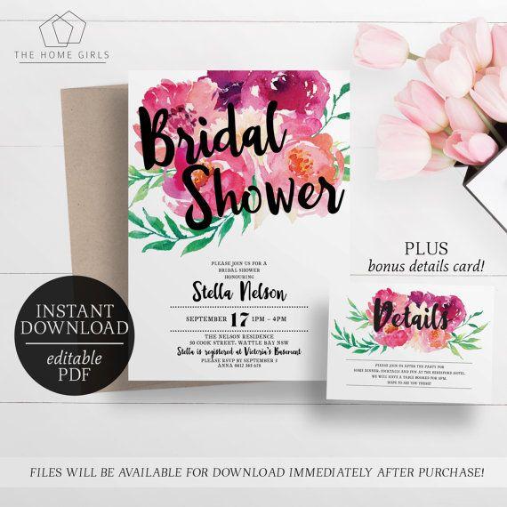 Kitchen Tea Invitation Templates Free Download: Bridal Shower Invitation Floral