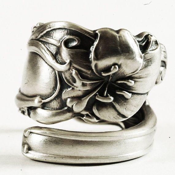 Delizioso anello di Lily cucchiaio anello argento fiore