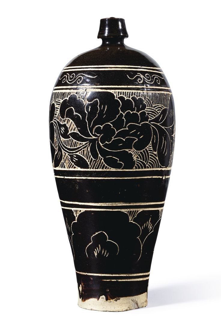 A LARGE 'CIZHOU' BLACK-GLAZED SGRAFFIATO 'FLORAL' MEIPING, NORTHERN SONG DYNASTY