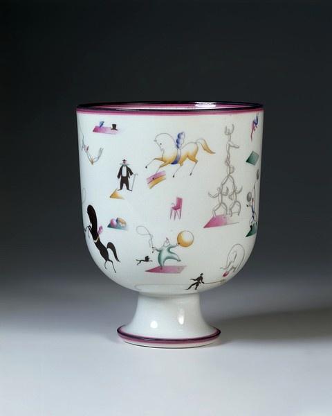 Gio Ponti - Vase, 1927. Porcelain with transfer-printed decoration.