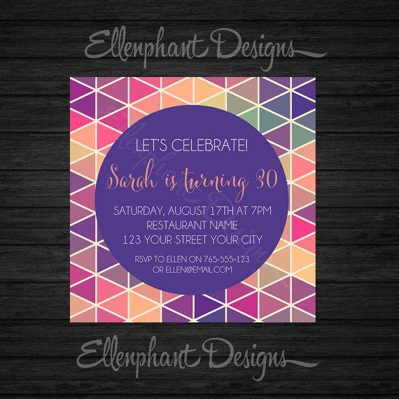 Геометрическая треугольник Приглашение на день рождения, 21-го, 30-ого, 40-, розовый, красивая, фиолетовый, ppattern, взрослый, обычай приглашать, цифровой файл, вы печати