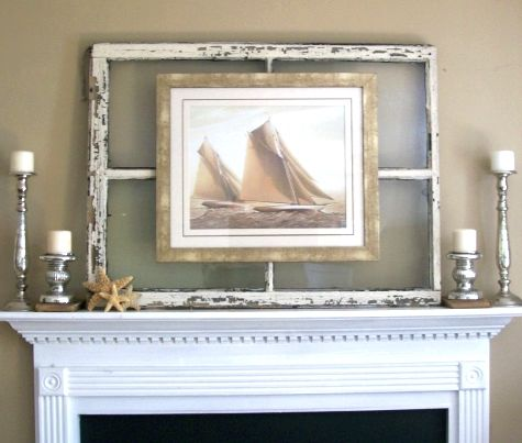 Window+Frame+Decorating+Ideas   Use an old window frame to mount art for a rustic worn look. Via ...