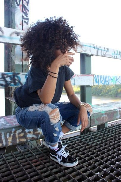 shoes pants ripped pants jeans black and white vans curly hair natural hair navy blue shirt navy shirt top style reckless outside urban dope style dope trill ill vans vans off the wall navy hoodie distressed denim shorts denim ripped jeans ripped black vans graffiti tumblr girl socks t-shirt jewels black girls killin it sneakers