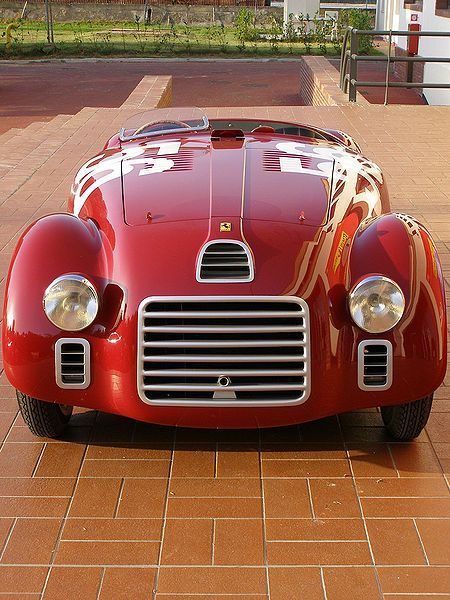This red 1940 Ferrari 125S was the first vehicle to bear the Ferrari name when it debuted on May 11, 1947 at the Piacenza racing circuit.