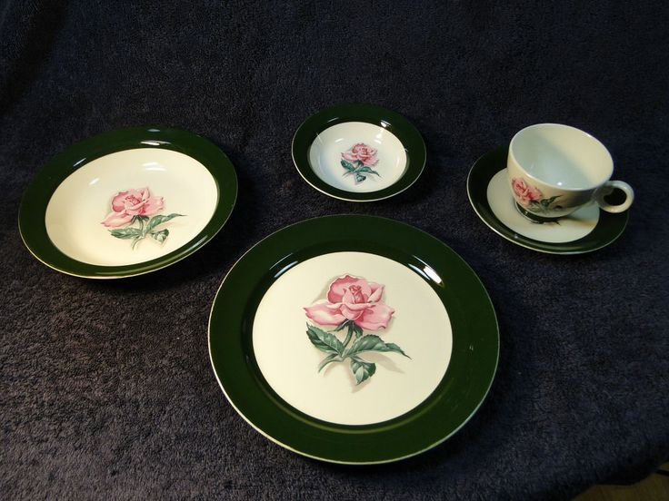 Taylor Smith Taylor Pink Rose Green Band 5 Pc Place Setting 50's vtg VERY NICE! #TaylorSmithTaylor
